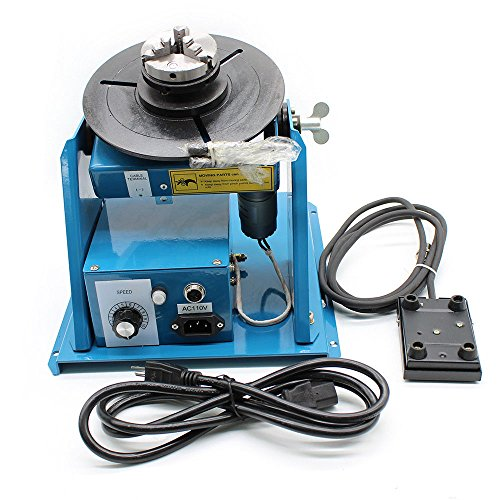 Rotary Welding Positioner Turntable Table Mini 2.5'' 3 Jaw Lathe Chuck 2-10 r/min (110V 50HZ) by GADE10