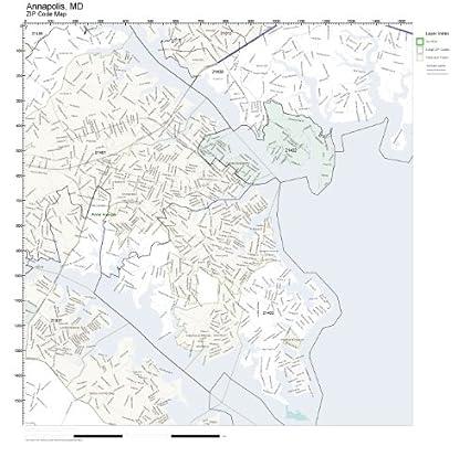 Amazon Com Zip Code Wall Map Of Annapolis Md Zip Code Map