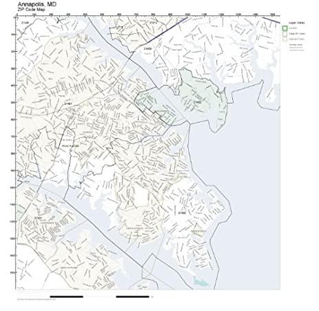 Amazoncom ZIP Code Wall Map of Annapolis MD ZIP Code Map