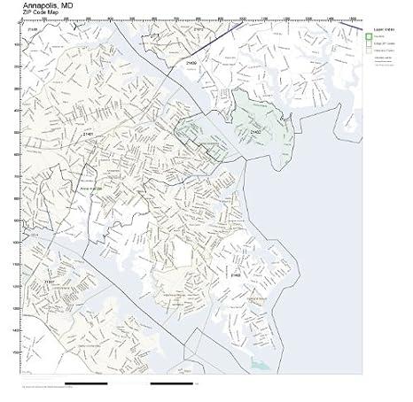Amazon.com: ZIP Code Wall Map of Annapolis, MD ZIP Code Map ...