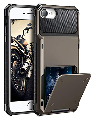 ELOVEN Case for iPhone 6 Case,iPhone 6s Case,iPhone 7 Case,iPhone 8 Case Wallet Credit Card Holder Hidden ID Slot Shock Absorption Duty Drop Protection Rugged Bumper Cover for iPhone 66s78,Gun Metal (Best Iphone 4 Metal Case)