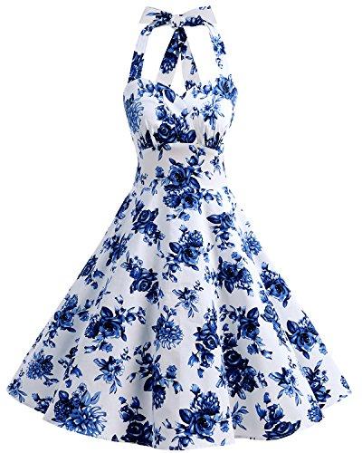 Bbonlinedress Vintage Rockabilly Años 50 Halter Vestidos de Cóctel Floral Retro White Blue Flower
