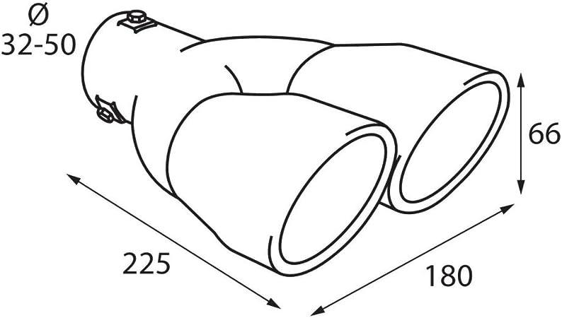 ER098 - Acero inoxidable de doble tubo de escape del tubo de escape de para atornillar Embellecedor de tubos de escape universales Sport Sound