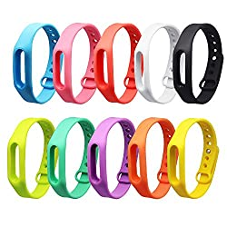 Selftek 10 Pieces Replacement Band For Xiaomi Mi 1 1s Band Strap Colorful Replacement Wristband Bracelet