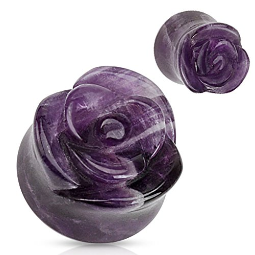 Amethyst Double Flared Plugs - Dynamique Pair of Amethyst Semi Precious Stone Rose Carved On Single Side Double Flared Plugs