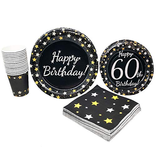 60th Birthday Party Supplies (65+ Pieces for 16 Guests!), Milestone Birthday Kit, Sixtieth Tableware Pack, Anniversary Birthday Decorations, Gold and Silver]()