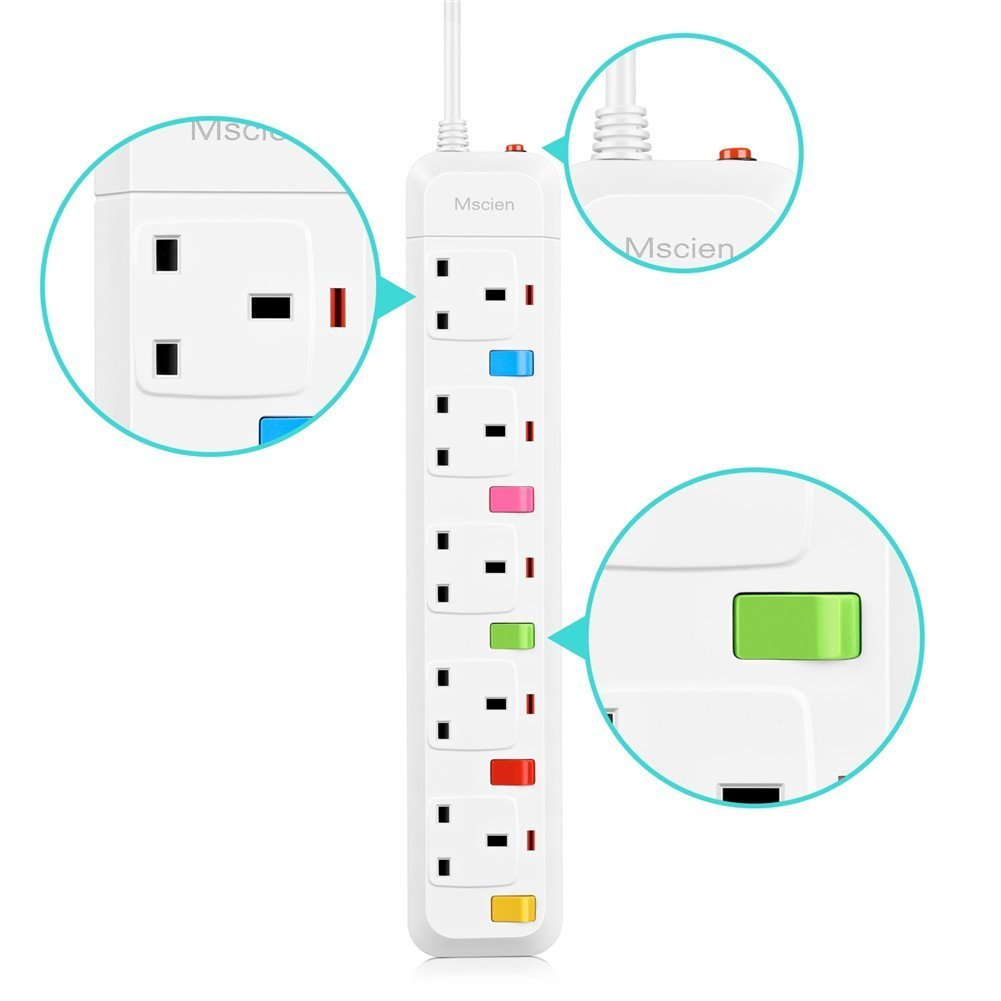 extension cords 5 gang -3m cord wiring & connecting extension lead mscien  individually switched power strip