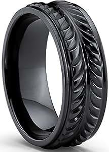 Ultimate Metals® Banda Anillo Titanio Negro Para Hombre, Comodidad Encajar 8mm