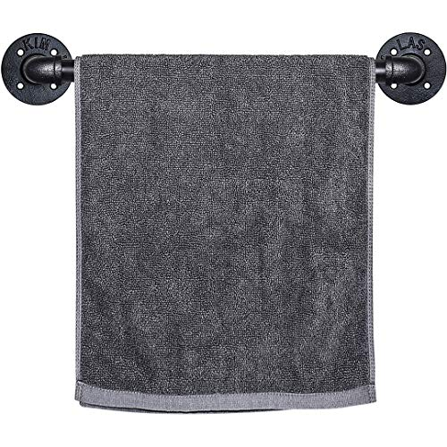 SUNMALL Industrial Pipe Towel Bar, Wall Mounted Hand Towel Bars for Bathroom, Rustic Towel Rack Holder with Mounting…