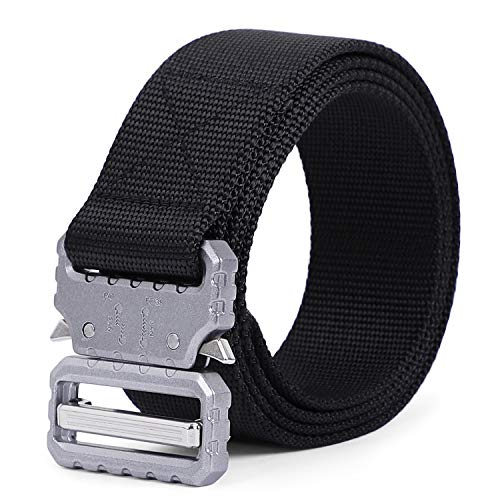 - Mens Tactical Web Belt SANSTHS Military Style Riggers Nylon Web Belts 1.5 inch with Quick Release Metal Buckle, Black