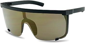 ee5ffa1593 SunglassUP Oversized 150mm Super Shield Mirrored Lens Sunglasses Retro Flat  Top Matte Black Frame