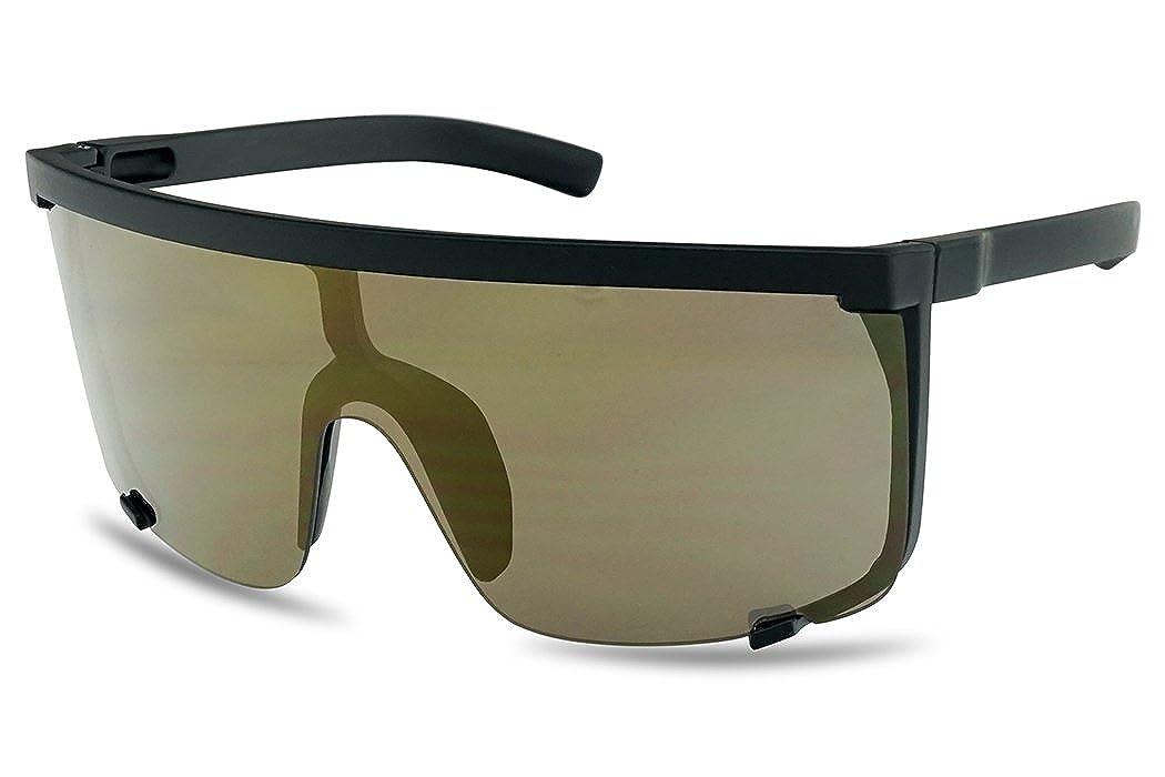 45280323dc1 Amazon.com  SunglassUP Oversized 150mm Super Shield Mirrored Lens Sunglasses  Retro Flat Top Matte Black Frame (Matte Black Frame