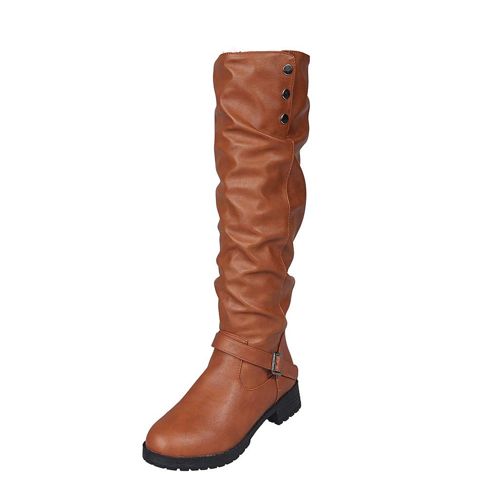 Lataw Women Boots Ladies Retro Slouchy Fold Low Heel Knee High Soft Shoes Buckle Add Cotton Keep Warm Long Tube Knight Riding Boots by Lataw