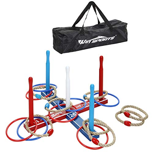 Premium Wooden Ring Toss Game Set - Throwing Game Indoor Outdoor Games for Kids & Adults - Includes Wood Base,8 Ropes and 8 Plastic Rings,Carry Bag & Instruction - Fun Family or Friends Game -