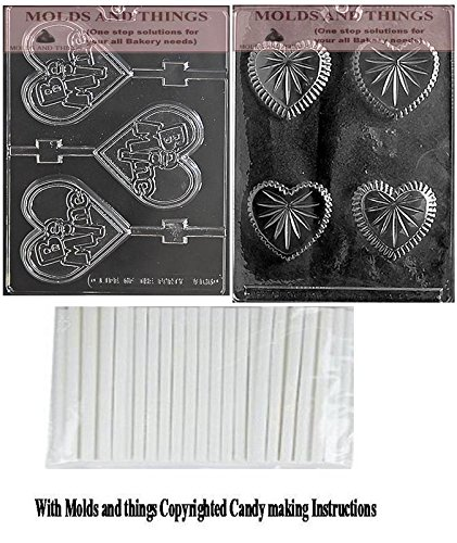 Small Heart Pour Box Chocolate Candy Mold & BE MINE LARGE HEART LOLLY Chocolate Candy Mold, Valentine- Flower Chocolate Candy Mold with copywrited molding Instructions + 25 sticks