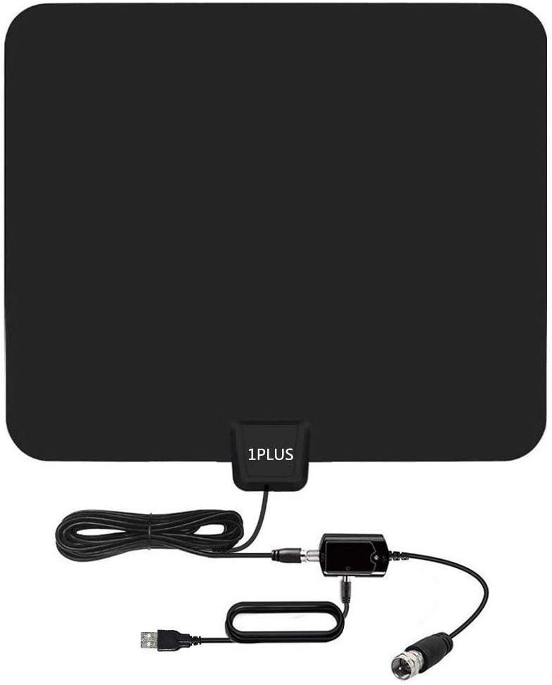 Antena HDTV, antena de TV digital de 75 millas para interiores con amplificador de señal, soporta canales 4K 1080P Freeview, cable coaxial de 13.2 pies: Amazon.es: Electrónica