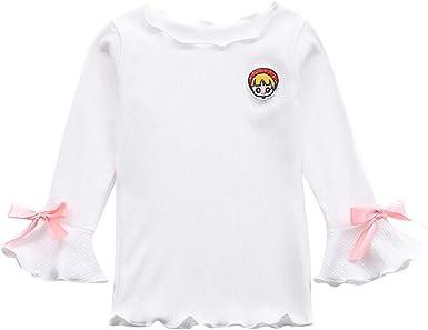 K-Youth Ropa Bebe Niña Invierno Manga Campana Lazo Camiseta Manga Larga Bebe Niños para 1 a 6 años Blusa Bebe Ropa Recien Nacido Niño Otoño Chandal Niñas Tops Bebes Primavera: Amazon.es: Ropa