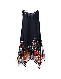 Women Plus Size Floral Print Chiffon Sleeveless Irregular Hem Mini Dress