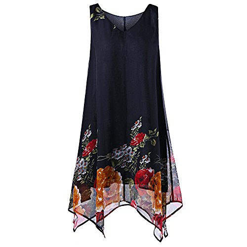Plus Size Floral Print Chiffon Sleeveless Irregular Hem Mini Dress Valentine's Day Present Gift Navy ()