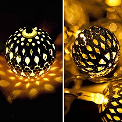 RECESKY Battery Operated Moroccan Ball String Lights 40 LED 25.8ft Fairy Globe Lantern Decor Lighting for Outdoor, Indoor, Garden, Patio, Yard, Lawn, Bedroom, Home, Christmas Decorations (Warm White)