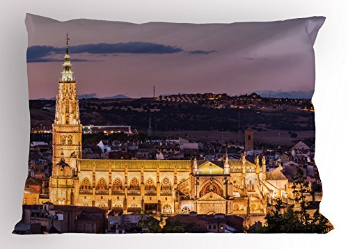Ambesonne Wanderlust Pillow Sham, Night Skyline on Cathedral in the Ancient City of Toledo Spain Image, Decorative Standard King Size Printed Pillowcase, 36 X 20 Inches, Pale Muave Yellow by Ambesonne