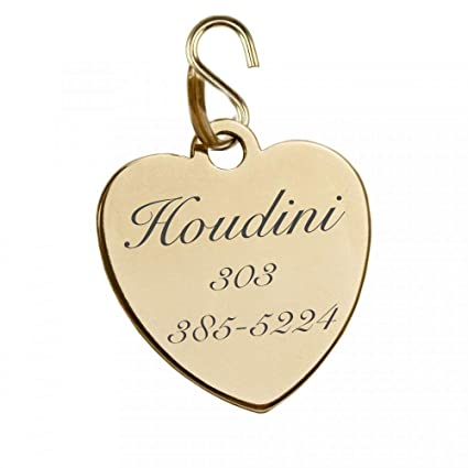 33a2ef677dd1 Amazon.com: Engraved Shiny Gold Finish Pet Tag ID Charm Pendant for Dogs &  Cats Collars Personalized Free Dog Tag Cat Tag (Engrave Name & Number):  Office ...