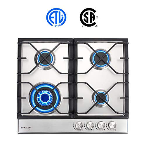 - Gas Cooktop, Gasland chef GH60SF 24'' Built-in Gas Cooktop, Stainless Steel LPG Natural Gas Cooktop, Gas Stove Top with 4 Sealed Burners, ETL Safety Certified, Thermocouple Protection