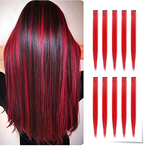 TOFAFA 22 inch Colored Hair Extensions straight Hairpiece,Multi-colors Party Highlights Clip in Synthetic Hair Extensions (10pcs Red) (Best Real Hair Clip In Extensions)