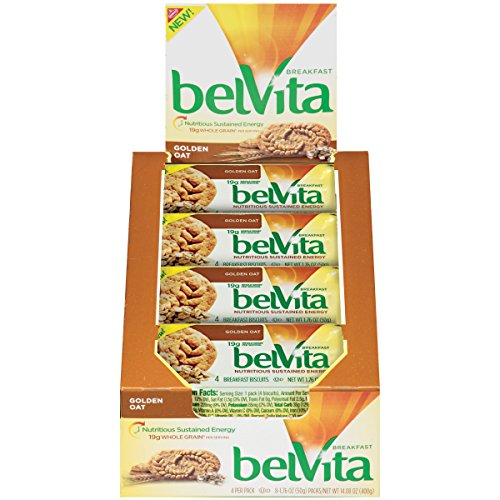 Rolled Oats Biscuits - belVita Golden Oat Breakfast Biscuits, 1.76 oz, Pack of 8