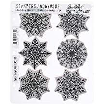 """Stampers Anonymous CMS319 Tim Holtz Cling Stamps 7""""X8.5""""-Swirly Snowflakes"""
