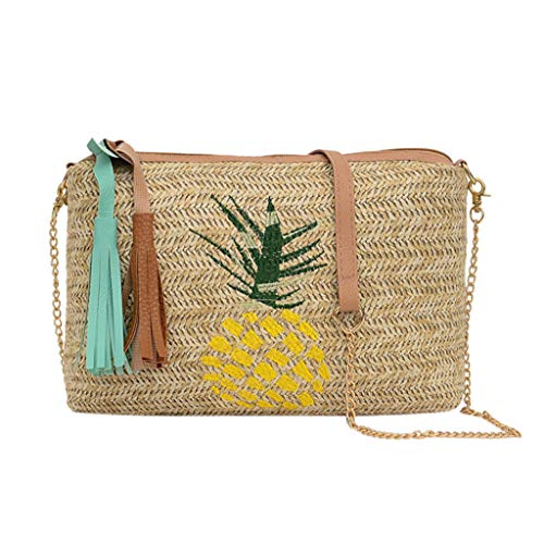 (Sentmoon Fashion Ladies Tassel Pineapple Leaves Woven Wild Messenger Bag Shoulder Bag Suitable For Wedding Party Ball Daily Casual Wearing Travel Office Occasion (yellow))