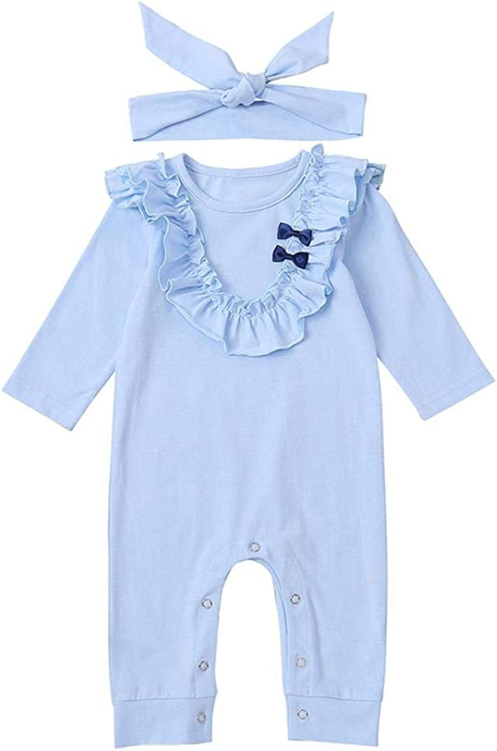 MJuan-clothing Blue Princess Baby Suit Hair Band Ruffled Bow Jumpsuit Bodysuits