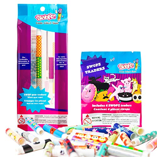 swopz Starter Set: 1 Pen with 1 Traderz Set (8 Traderz Pieces Total) - Cool New Kids Pen for Boys and Girls with 8 Tradeable Toy Pen Parts. Great for School, Birthday Gifts, Favor Bags!