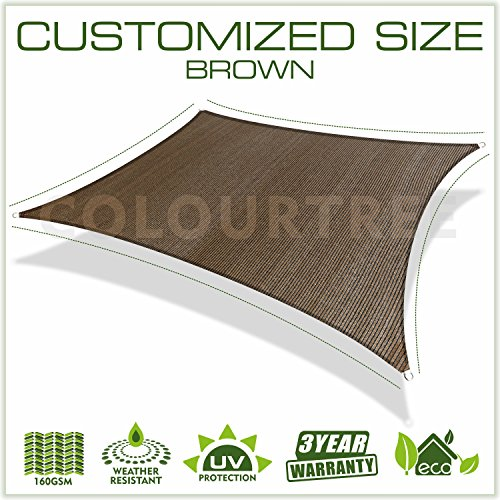 ColourTree Customized Size 24 x 24 Brown Sun Shade Sail Canopy UV Block Rectangle – Commercial Standard Heavy Duty – 160 GSM – 5 Years Warranty