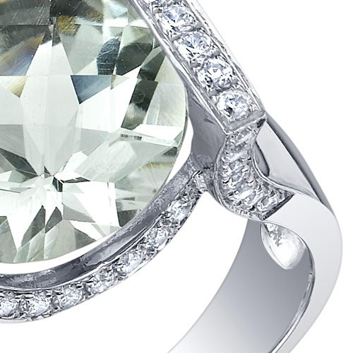 5.00 Carats Green Amethyst Artistic Ring Sterling Silver Checkerboard Cut Size 5