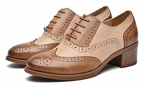 Brownbiege Vintage up lite Lace Heel Leather Women's Shoes Wingtip U Mid Multicolor Oxford Perforated Flat Oxfords dZwRHx0nx