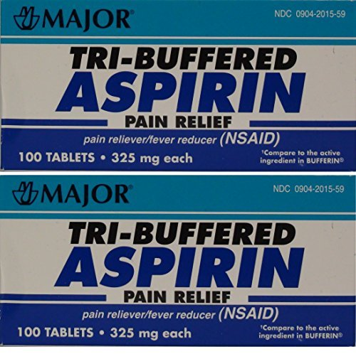 (Tri Buffered Aspirin Tablets Generic for Bufferin 325 mg 100 Tablets per Bottle Total 200 Tablets by Major Pharmaceuticals)