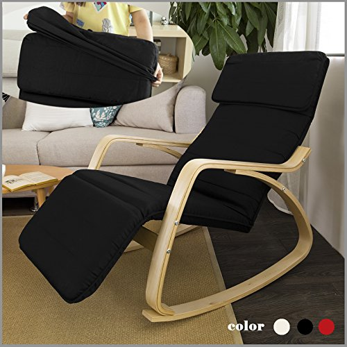 SoBuy Haotian Comfortable Relax Rocking Chair with Foot Rest Design, Lounge Chair, Recliners Poly-Cotton Fabric Cushion FST16 (Black)