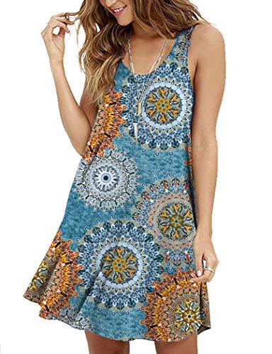 MOLERANI Women's Summer Floral Dresses Sleeveless Tunic T Shirt Swing Dresses]()