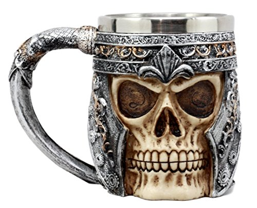 Ebros Medieval Roman Skull Mug Beer Stein Tankard Cup 13oz Resin Body With Stainless Steel Liner