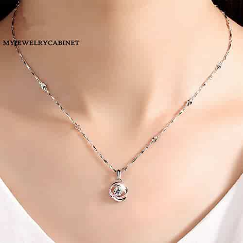 552f870cf4c83e Generic sterling silver chain necklace pendant women girl clavicle  _legend_blue_sea_with_ Korean models simple jewelry birthday pendants