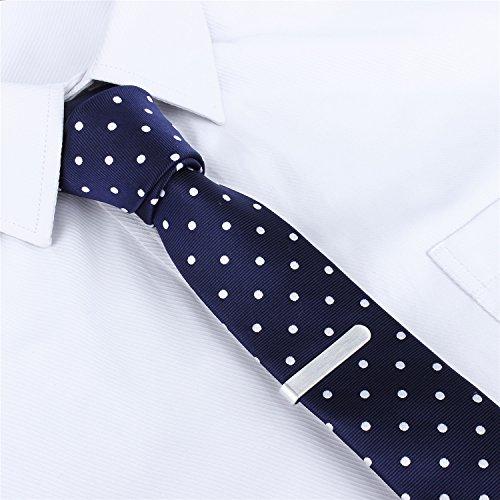 Mens Shinny Ties Polka Dots Polyester Necktie with Tie Bar Clip (2.5 inch Necktie) by HAWSON (Image #1)