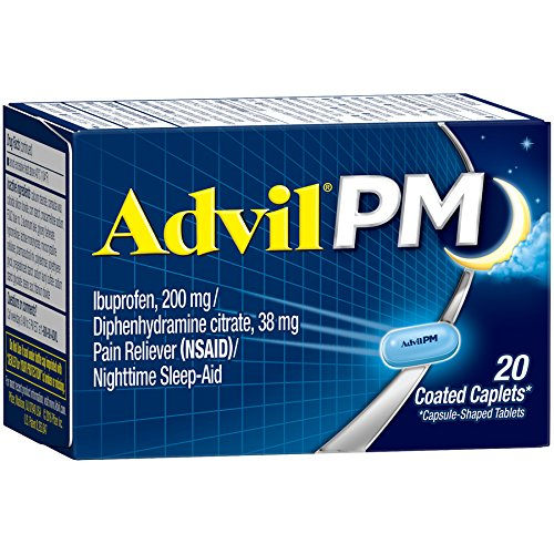 Advil PM (20 Count) Pain Reliever/Nighttime Sleep Aid Coated Caplet, 200mg Ibuprofen, 38mg Diphenhydramine