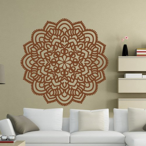 (WOCACHI Wall Stickers Decals Mandala Flower Indian Bedroom Wall Decal Art Stickers Mural Home Vinyl Family BW Art Mural Wallpaper Peel & Stick Removable Room Decoration Nursery Decor)