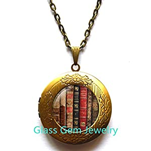 Amazon antique book locket pendant shabby bookshelf locket antique book locket pendant shabby bookshelf locket necklace book locket pendant book jewelry book jewelry librarian gift book lover gift book locket aloadofball Images