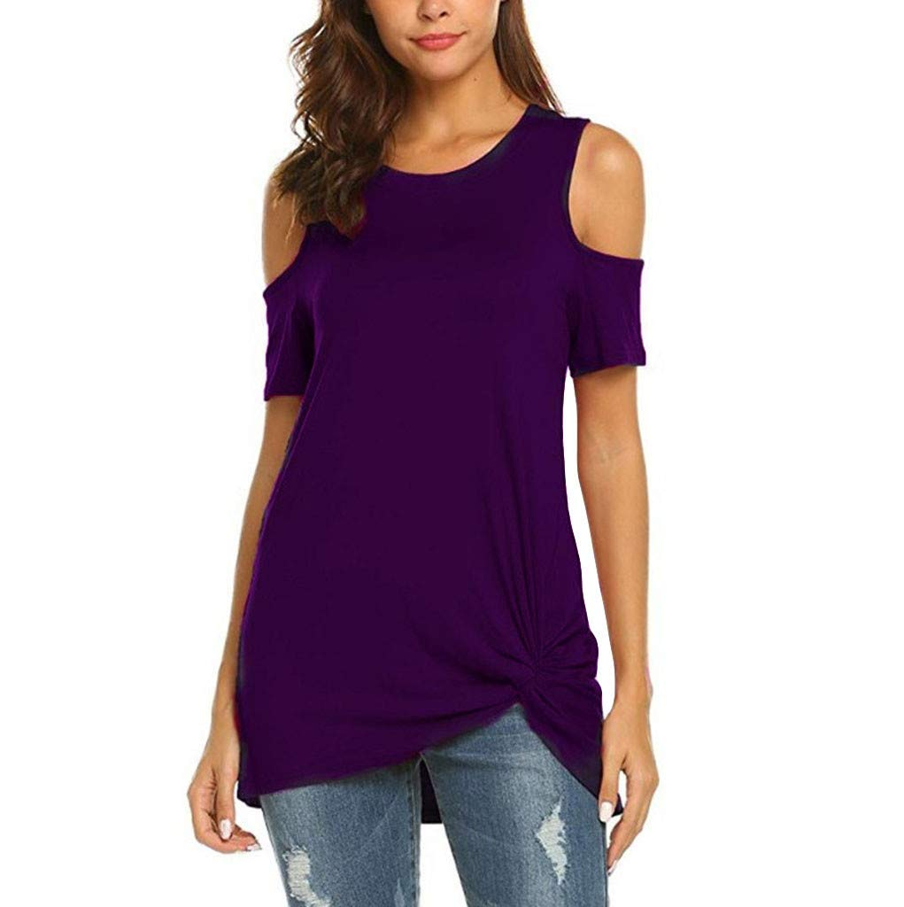 IAMUP Ladies Casual Short Sleeve Tops Strapless Solid Elegant T-Shirt Loose Soild O Neck Top Blouse Purple