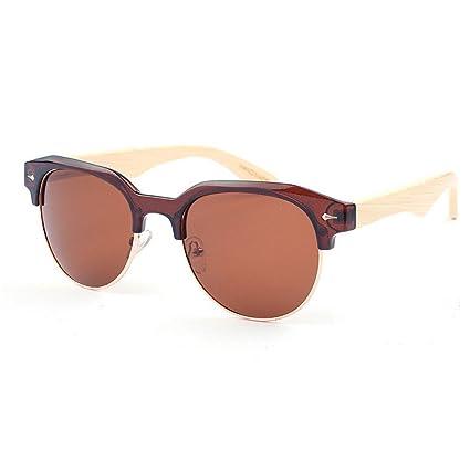 fd0598ffc1739 Xiuzhifuxie Unisex Glasses Irregular Semi-Rimless Polarized Bamboo  Sunglasses for Men Women Mirror Lens UV
