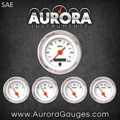 Aurora Instruments 1041 Modern Rodder White SAE 5-Gauge Set Orange Vintage Needles, Chrome Trim Rings, Style Kit Installed