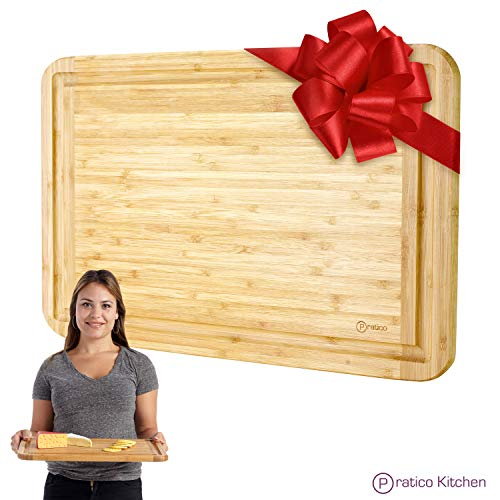 Bamboo Cutting Board and Serving Tray with Juice Groove - Extra Large 18 x 12 inches - Made Using Premium Bamboo (Wooden Board Carving)