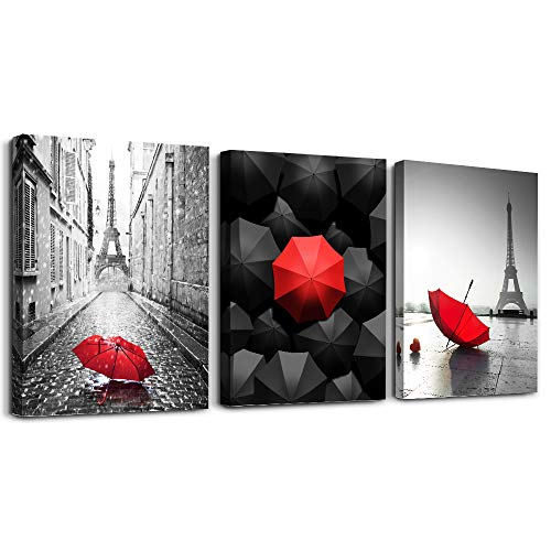 Black and white Eiffel Tower scenery Canvas wall art for living room bathroom Wall Decor bedroom wall Artworks red umbrella watercolor painting Canvas art 12